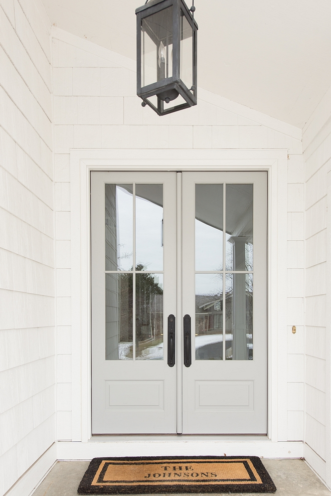 Front Door We changed the exterior color of our home to white shake, and replaced our 7' solid wood doors with 8' french doors adorned with big windows that lets the morning light pour into our home #frontdoor