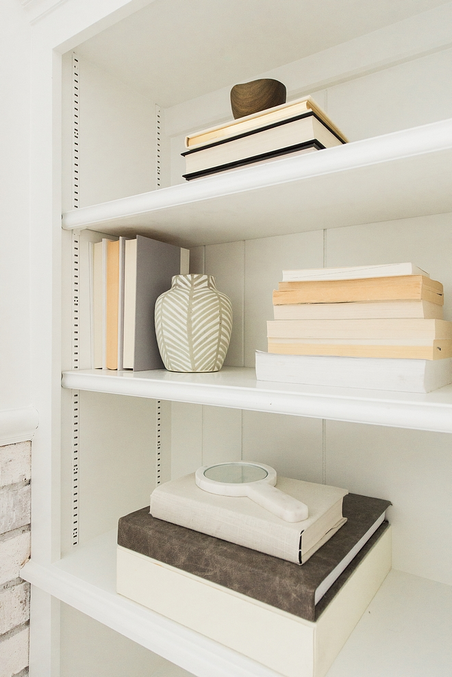Neutral Bookshelf Decor