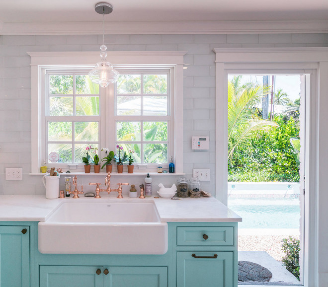 Pendant Lights For Kitchen Sink: Custom Kitchen With Turquoise Cabinets