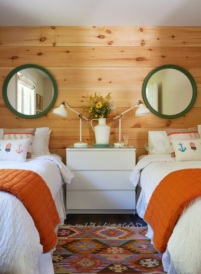 Knotty Pine shiplap Pine Shiplap Coastal Farmhouse bedroom with unfinished pine shiplap Knotty Pine shiplap