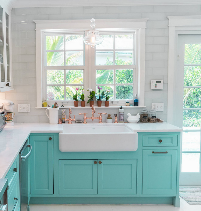 Something Blond Blue Kitchens: Custom Kitchen With Turquoise Cabinets
