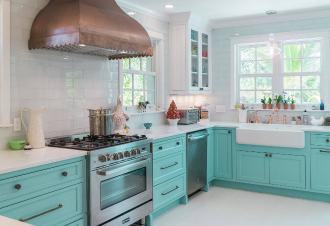 Turquoise kitchen with white glass subway tile Turquoise kitchen with white glass subway tile