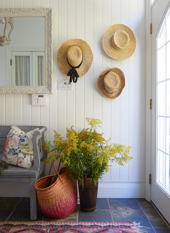 Vertical Shiplap Coastal Farmhouse Foyer Cottage foyer with vertical shiplap paneling
