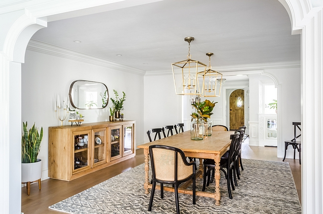 Transitional Dining Room with two pendant lights, Darlana from Visual Comfort