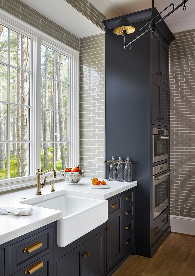 Kitchen backsplash and scullery walls are Walker Zanger's Gramercy Park crackled tile in Pipe Smoke #kitchen #backsplash #subwaytile #tile