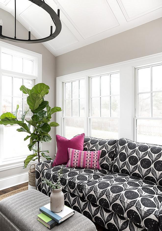 Black and white sofa Black and white sofa upholstered in Romo fabric #blackandwhite #sofa