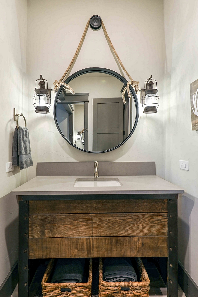 Reclaimed Farmhouse Bathroom Vanity Bathroom Reclaimed Farmhouse Bathroom Vanity bathroom features an industrial rustic vanity with grey quartz countertop #ReclaimedFarmhouseBathroomVanity #FarmhouseBathroomVanity