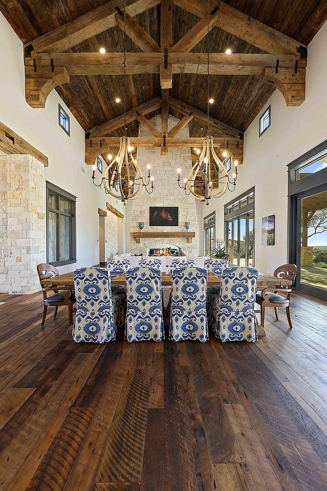 Reclaimed Wood Ceiling Doug Fir Penny Gap soffits over Doug Fir Rafters #ReclaimedWood #ReclaimedwoodCeiling #DougFir #PennyGap #soffits #Rafters