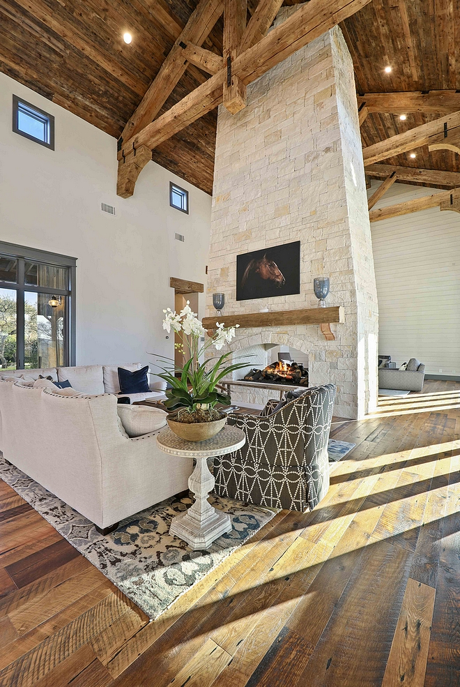 Stone Fireplace High Ceiling Stone Fireplace Between Rafters and Trussels Living room Stone Fireplace High Ceiling Stone Fireplace Between Rafters and Trussels #StoneFireplace #HighCeilingFireplace