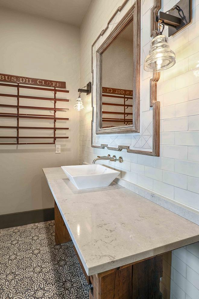 Farmhouse Bathroom with accent tile Walker Zanger Cafe Milk Tile Farmhouse Bathroom with accent tile Farmhouse Bathroom with accent tile #FarmhouseBathroom #accenttile