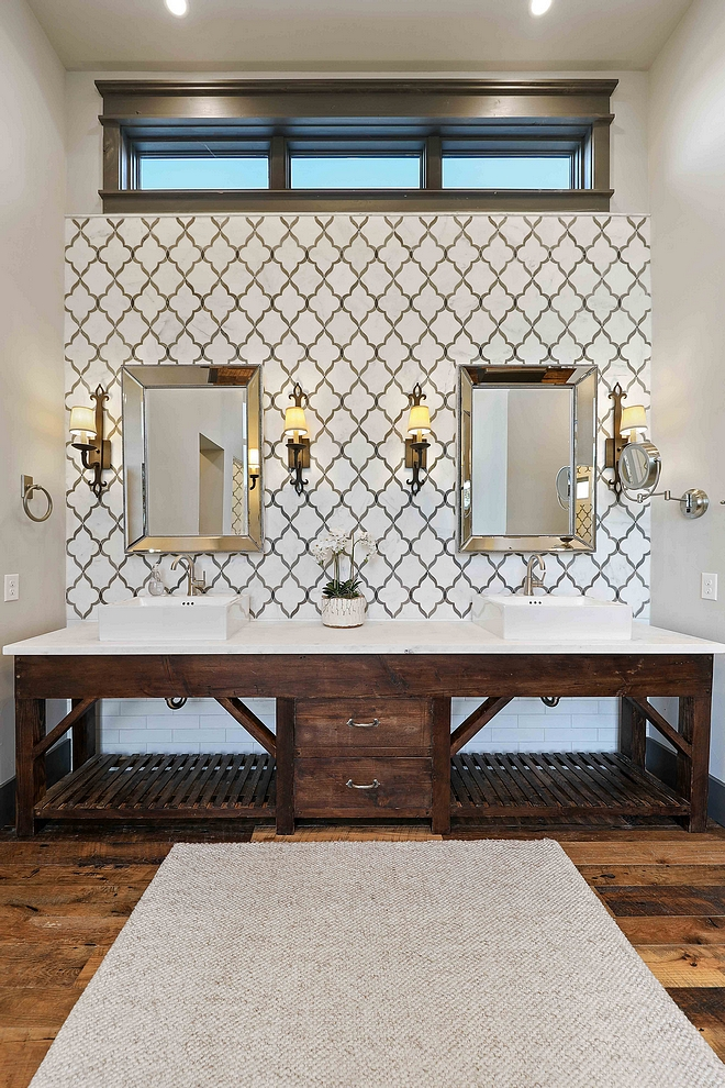 Bathroom features Walker Zanger tile and an antique vanity base cabinet Bathroom features Walker Zanger tile and an antique vanity base cabinet #Bathroom # WalkerZangertile #antiquevanity #rusticcabinet
