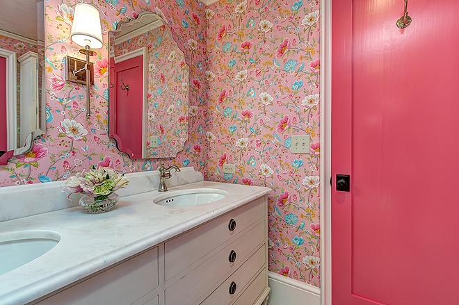Sherwin Williams SW 6855 Dragon Fruit Kids Bathroom and Bedroom Interior Door Paint Color Sherwin Williams SW 6855 Dragon Fruit #SherwinWilliamsSW6855DragonFruit