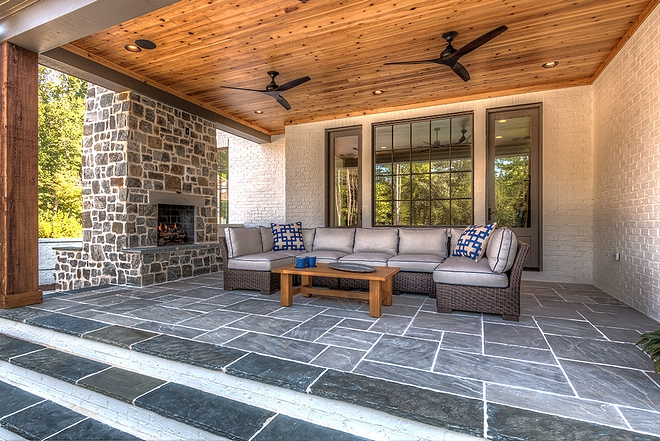 Back porch with Cedar tongue and groove ceiling and slate tile