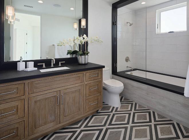 Farmhouse Bathroom Geometric Tile floor tile and 4x8 white subway shower tile Farmhouse Bathroom Geometric Tile Farmhouse Bathroom Geometric Tile #FarmhouseBathroom #GeometricTile