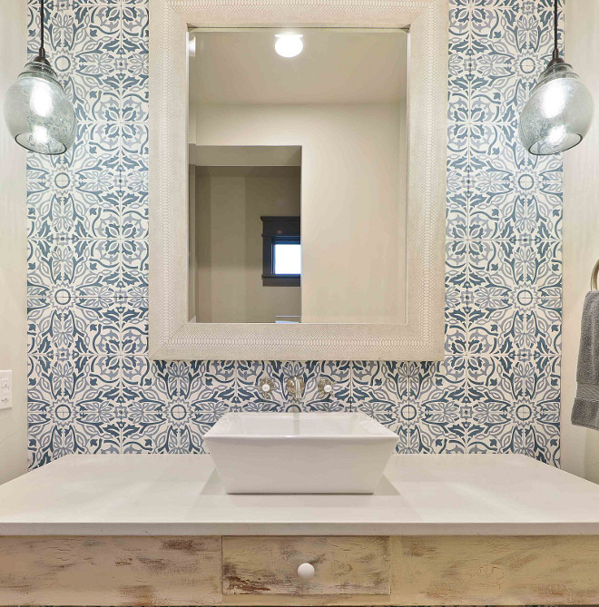 Bathroom with Blue and White Cement Tile