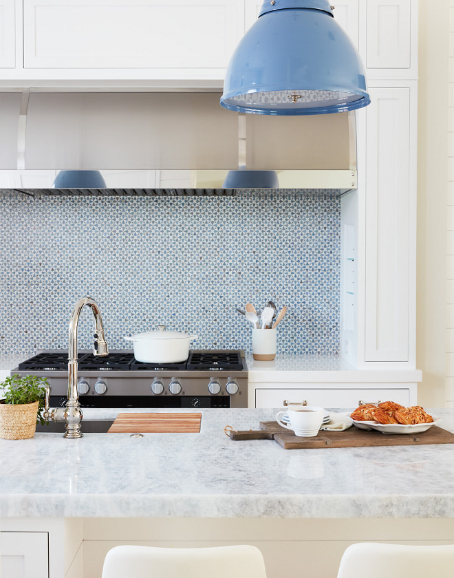 Blue and white backsplash Blue and white mosaic tile kitchen backsplash Backsplash is Mosaic House Trocadero #blueanwhite #backsplash