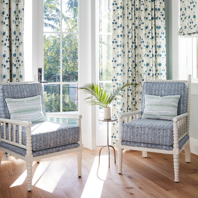 Blue and white chairs Curtain Fabric Alex Conroy's Jaipur Solid Petals in Colorway Sky Blue and white fabric #blueanwhitefabric #fabric #blueandwhite