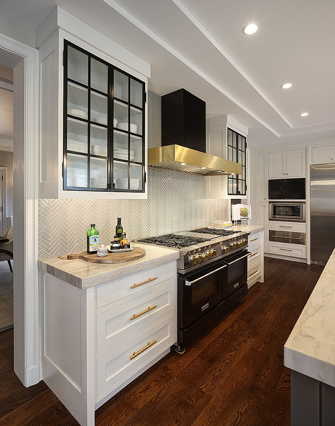 Black Steel and Glass Kitchen Cabinet Black Steel and Glass Kitchen Cabinet works beautifully with the black range and black hood with brass accent Black Steel and Glass Kitchen Cabinet
