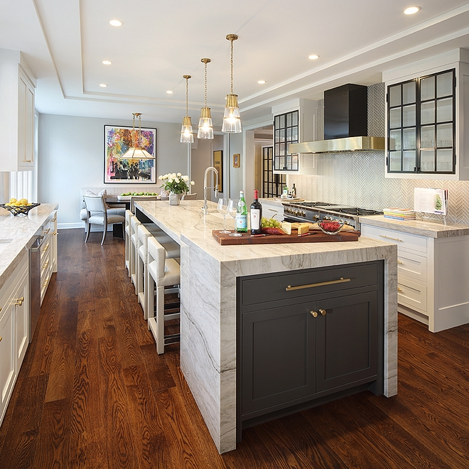 Iron Ore by Sherwin Williams Iron Ore by Sherwin Williams Dark Grey kitchen island with white marble Iron Ore by Sherwin Williams paint color