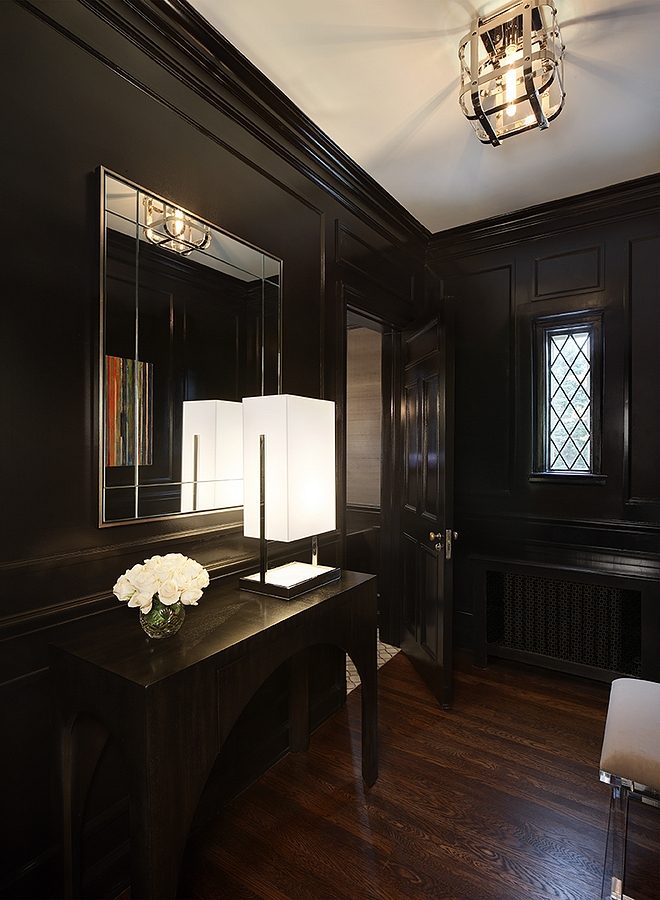 Black Wainscoting High Gloss Black Wainscoting Sherwin Williams Caviar Black Wainscoting Paint Color #HighGloss #BlackWainscoting #Wainscoting #paintcolor #SherwinWilliamsCaviar