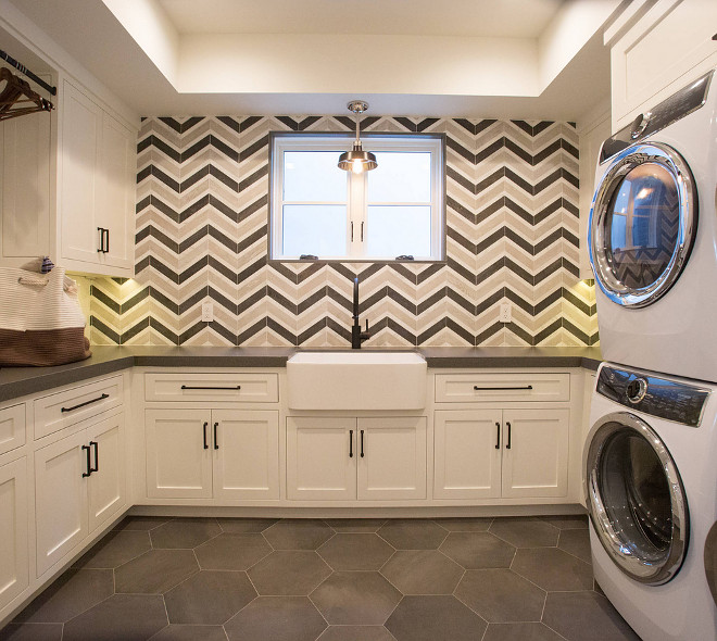 Chevron Tile Walker Zanger Sterling Row Tuxedo and Linen Laundry room chevron tile Laundry room chevron tile #Laundryroom #chevrontile