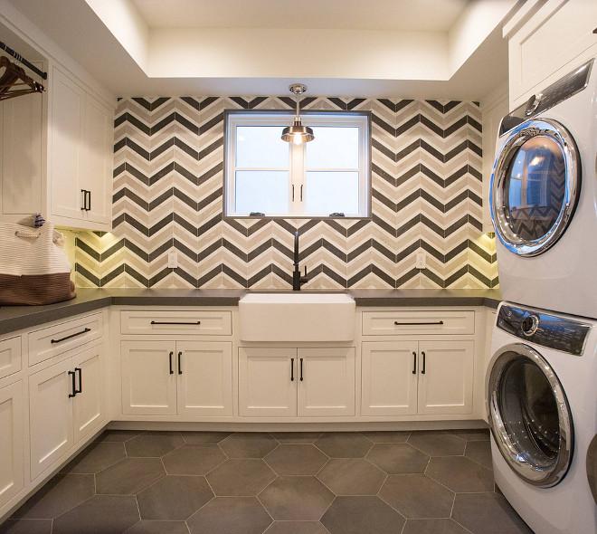 Chevron Tile Walker Zanger Sterling Row Tuxedo and Linen Laundry room chevron tile Laundry room chevron tile #Laundryroom #chevrontile