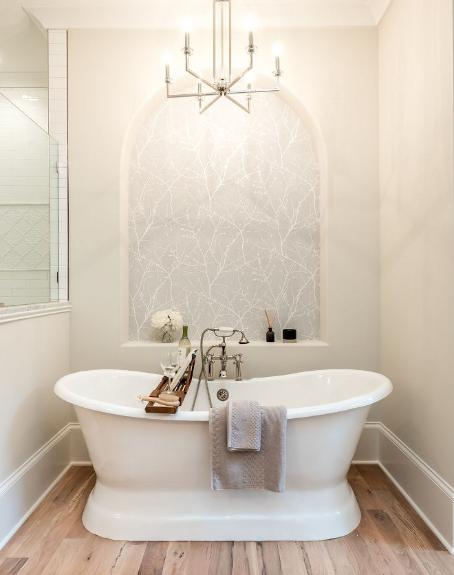 Freestanding bath nook Immediately upon walking into this space you are greeted by a stunning free-standing cast iron tub sitting in-front of a wallpapered inset accent wall with custom archway Wall Freestanding bath nook Immediately upon walking into this space you are greeted by a stunning free-standing cast iron tub sitting in-front of a wallpapered inset accent wall with custom archway #bathroom #freestandingbathtub #bathtubnook #bathroomnook #nook#bathroom #freestandingbathtub #bathtubnook #bathroomnook #nook