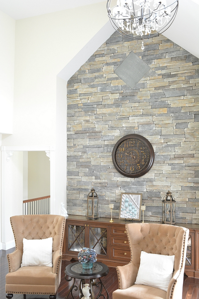 Accent Wall - when you can't have a fireplace you can add a stone accent wall with built-ins The stone on the wall is by Boral and is called Echo Ridge
