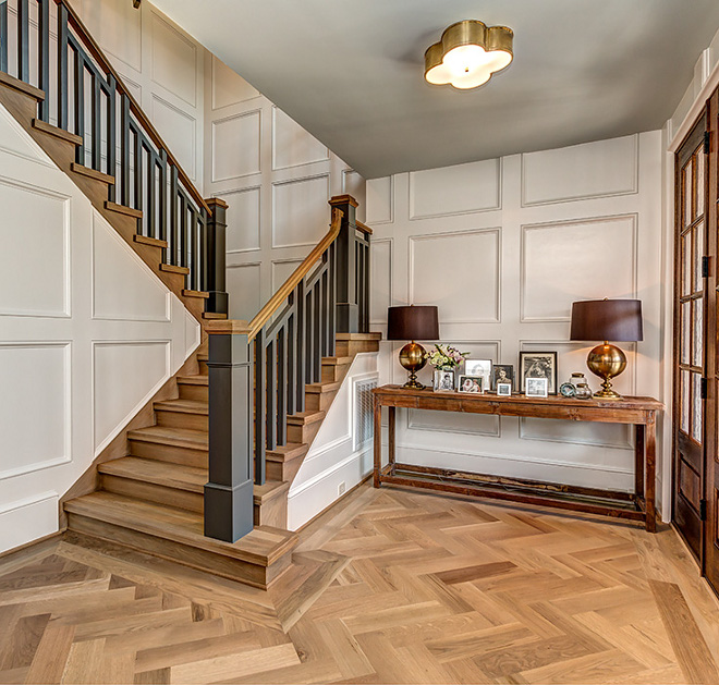 "Herringbone Hardwood Flooring Hardwood flooring is 5 1/4"" White Oak with custom stain in diagonal herringbone pattern cut and laid #hardwoodflooring #herringbonehardwood #herringbone #flooring"