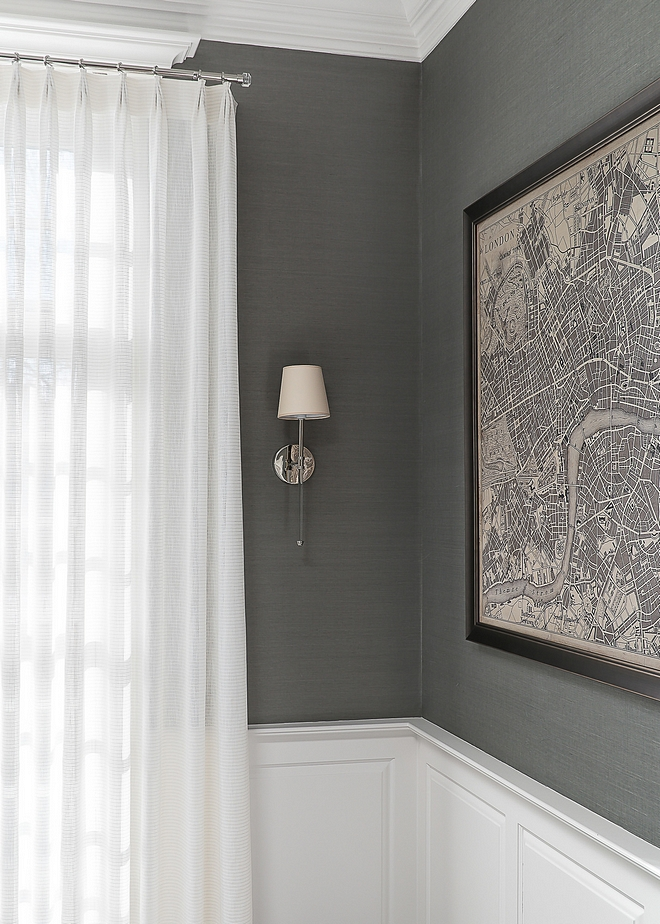 Grey Grasscloth Wallpaper Thibaut Wallcoverings Grasscloth Grey wallpaper above wainscoting Dining Room Grey wallpaper above wainscoting #Greywallpaper #wallpaperabovewainscoting #grasscloth