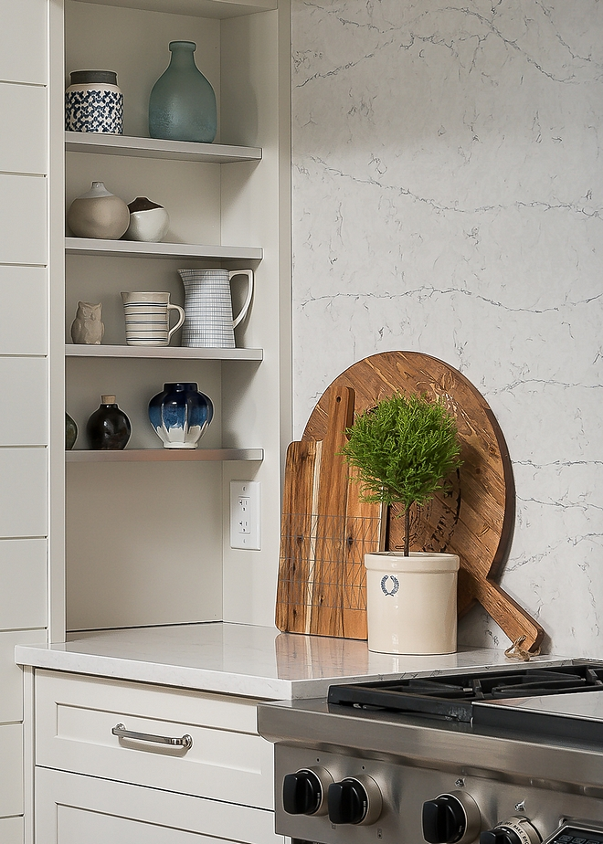Kitchen Hood Spice Shelves The kitchen hood features integrated spice shelves at each end Shiplap Kitchen Hood Spice Shelves #shiplap #KitchenHood #hoodSpiceShelves