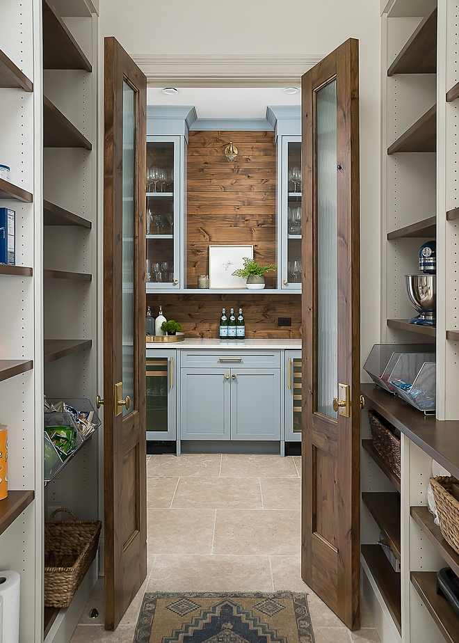 Pantry with Double Doors open directly to butlers pantry and kitchen #pantry #pantrydoubledoors #butlerspantry