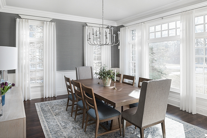 Dining Room Grey Walls Dining Room with grey grasscloth wallpaper grey and white ru and sheer curtain #diningroom #greywalls #greygrasscloth #diningrooms