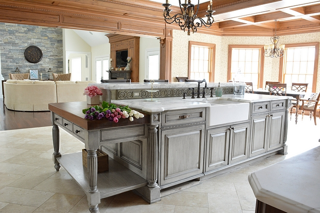 Distressed weathered grey kitchen island Distressed weathered grey kitchen island with butcher block working are and white marble countertop Distressed weathered grey kitchen island Distressed weathered grey kitchen island #Distressedweatheredgreykitchenisland #weatheredgreykitchenisland