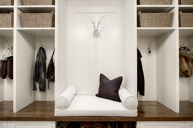 Mudroom bench The mudroom lockers feature a built-in bench with cushion #mudroom #bench