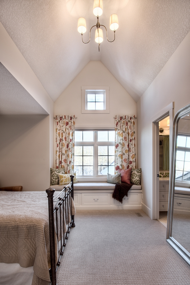 Kids Bedroom Vaulted ceiling window seat
