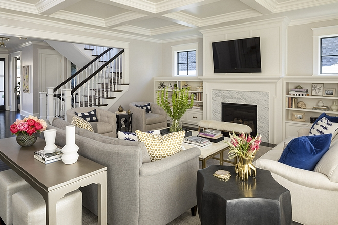 White Dove Benjamin Moore Coffered Ceiling Paint Color White Dove Benjamin Moore Coffered Ceiling Paint Color Millwork Trim Paint Color #WhiteDoveBenjaminMoore #CofferedCeiling #PaintColor