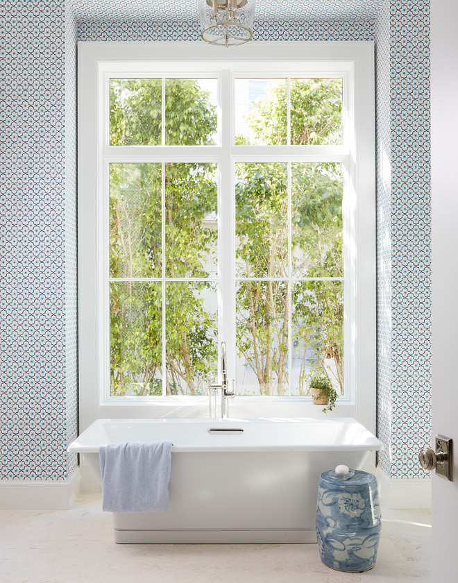 Master Bathroom Blue and White Wallpaper