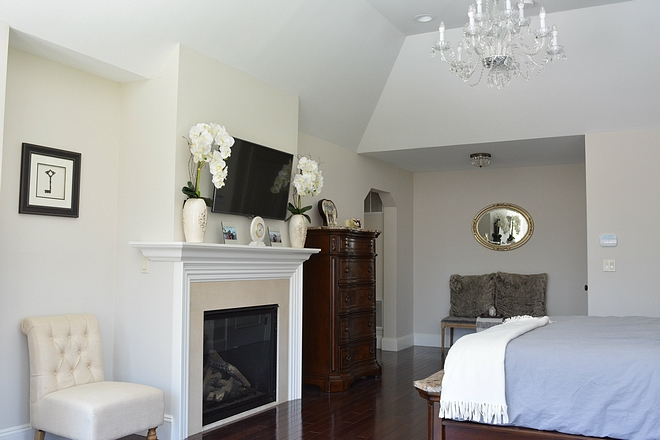Master bedroom with niche flanking fireplace