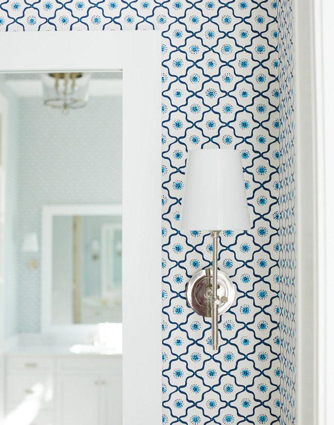 Bathroom Sconces Wallpaper is Quadrille Long Fellow #bathroom #sconces #wallpaper #blueandwhite