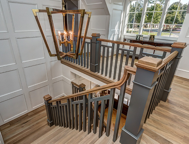 Benjamin Moore Kendall Charcoal HC-166 Grey staircase spindles and balusters paint color Benjamin Moore Kendall Charcoal HC-166 Benjamin Moore Kendall Charcoal HC-166 #BenjaminMooreKendallCharcoalHC166