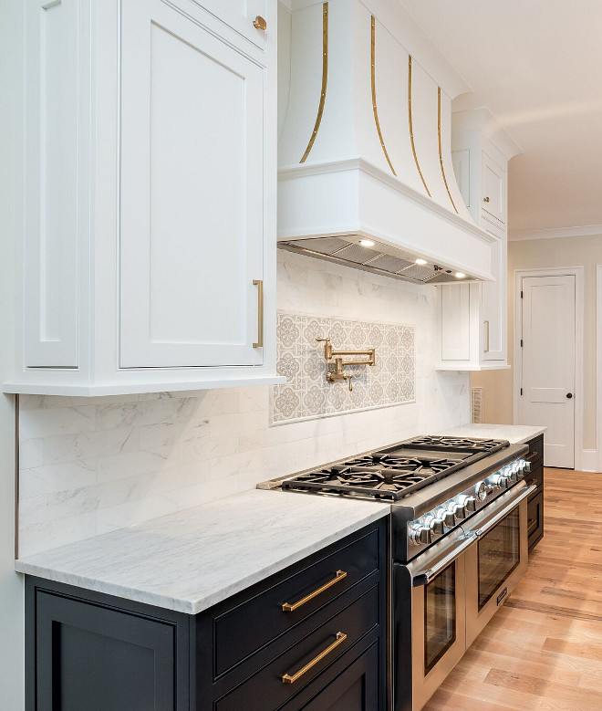 Two toned kitchen We choose the dark lower cabinets and white upper cabinets to create interest The two tone cabinets are painted in a custom color #twotonedkitchen #twotonedcabinets #twotoned #kitchen