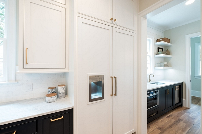 Paneled Refrigerator We wanted the refrigerator to be as seamless as possible to blend with the rest of the kitchen and not stand out, so we went the extra mile and got the panel ready version and had custom cabinet panels added to the front
