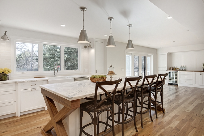 Open kitchen design Open kitchen design ideas Long kitchen island opens to dining room with custom cabinetry Open kitchen design #Openkitchendesign #Openkitchen #Opendesign #kitchen