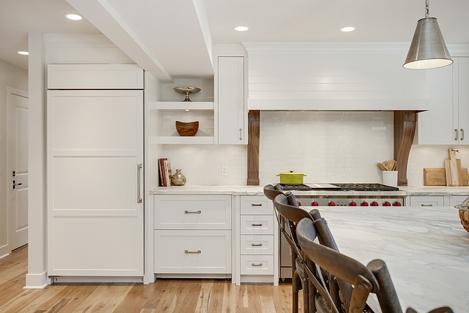 White kitchne with Walnut corbels Kitchen hood corbel #kitchenhood #hoodcorbel #walnut #walnutcorbel