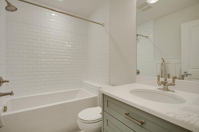 Kids Bathroom Affordable Kids Bathroom Ideas Bathtub with bevel subway tile Countertop is Blizzard Caesarstone Quartz Sources on Home Bunch Kids Bathroom Affordable Kids Bathroom #KidsBathroom #AffordableBathroom