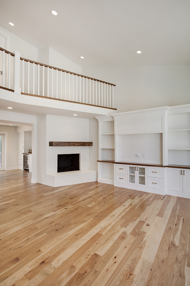 """Hardwood flooring throughout is 4"""" rustic Hickory with a custom stain finished on site Hickory Hardwood Flooring Hickory Hardwood Flooring sources Hickory Hardwood Flooring finishing Hickory Hardwood Flooring #Hickory #HardwoodFlooring"""