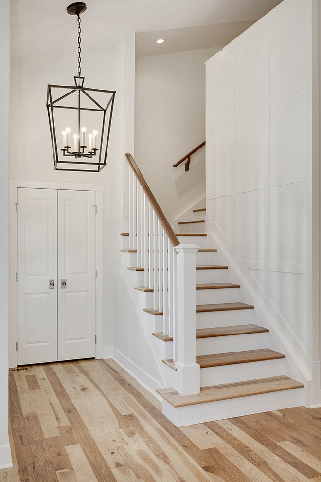 Board and Batten Grid Wainscoting Board and Batten Grid in Benjamin Moore OC-17 White Dove and Hickory Hardwood Flooring Board and Batten Grid Board and Batten Grid #BoardandBattenGrid #BoardandBattenGrid #BoardandBattenGridwall #DIYBoardandBattenGrid