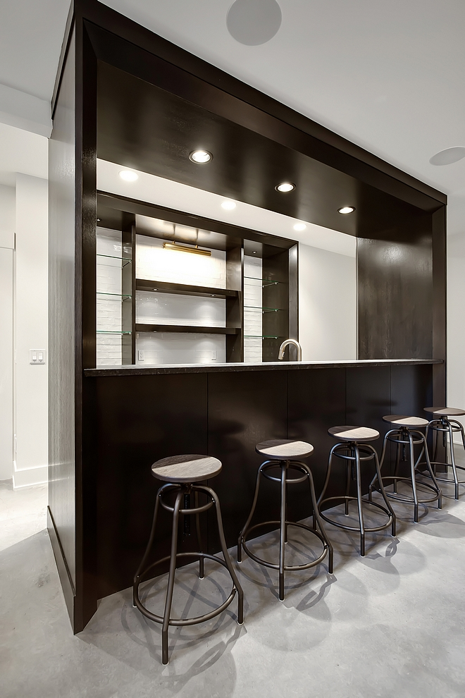 Basement Bar Custom built-on-site 1⁄4 sawn oak wet bar with granite countertop Basement Bar Basement Bar #BasementBar