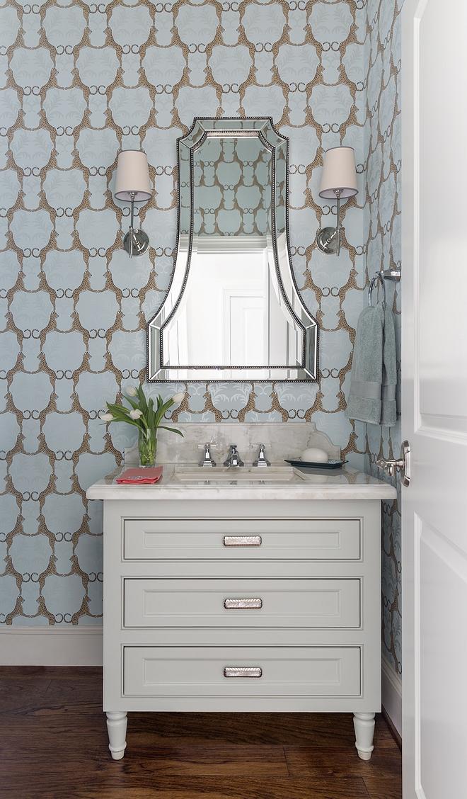 Classic Gray Benjamin Moore Bathroom Vanity Benjamin Moore Classic Gray The small vanity is custom, painted in Classic Gray by Benjamin Moore #BenjaminMooreClassicGray #Smallbathroom #smallvanity #paintcolor